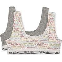 CALVIN KLEIN Girls Girls' Kids Modern Cotton Bralette, Multipack Base Layer Top - Multi - Medium