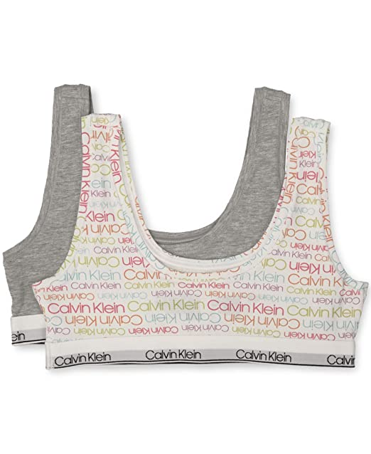 96fdc68cf9c0 Calvin Klein Big Girls' Modern Cotton Bralette, 2 Pack - CK Rainbow, Heather