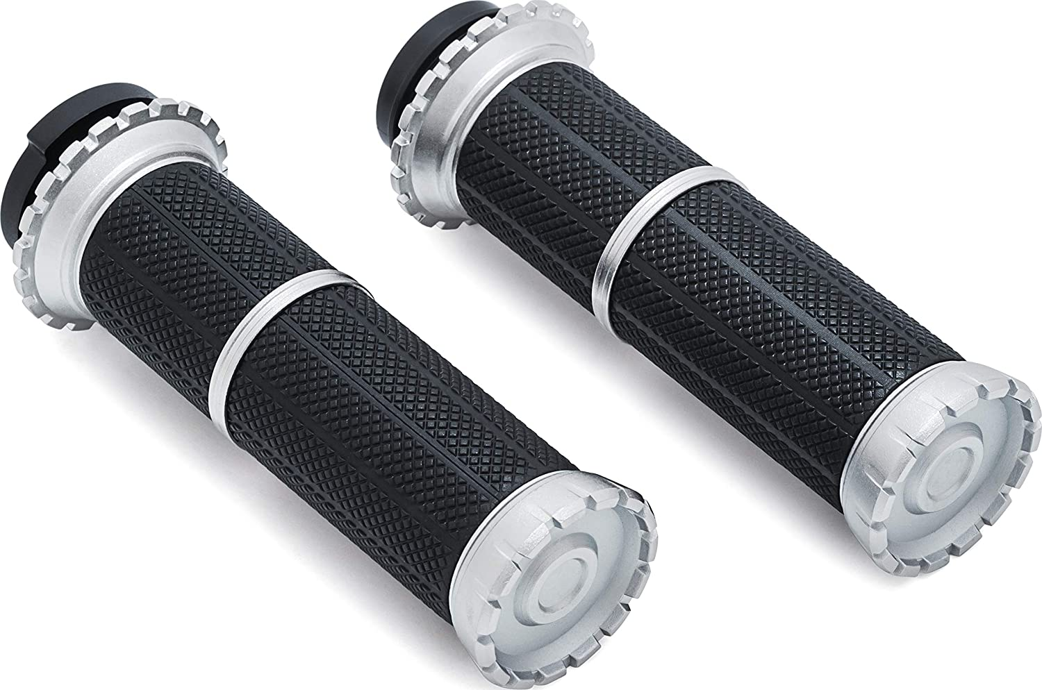 Silver Dual Cable Throttle Control: 1996-2019 Harley-Davidson Motorcycles 1 Pair Kuryakyn 3580 Riot Handlebar Grips for Throttle and Clutch