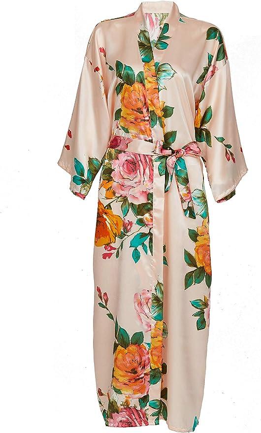 Women Luxury Long Smooth Silk Robe Robe with Elegant Bridal Wear Bridesmaid Wedding kimono High-quality Lingeries #MK 850