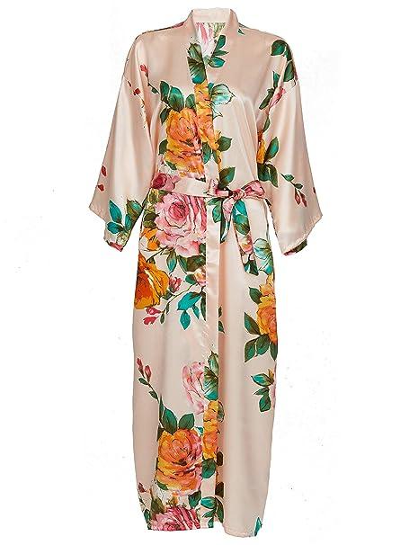 e161ee9f9375c Zarachilable Women 's Long Kimono Robe Floral Bridesmaid Robe,Bridal Robe