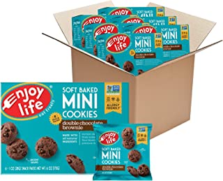 product image for Enjoy Life Mini Double Chocolate Brownie Soft Baked Cookies, Nut Free Cookies, Vegan, Gluten Free, 6 Boxes (6 Snack Packs Each)