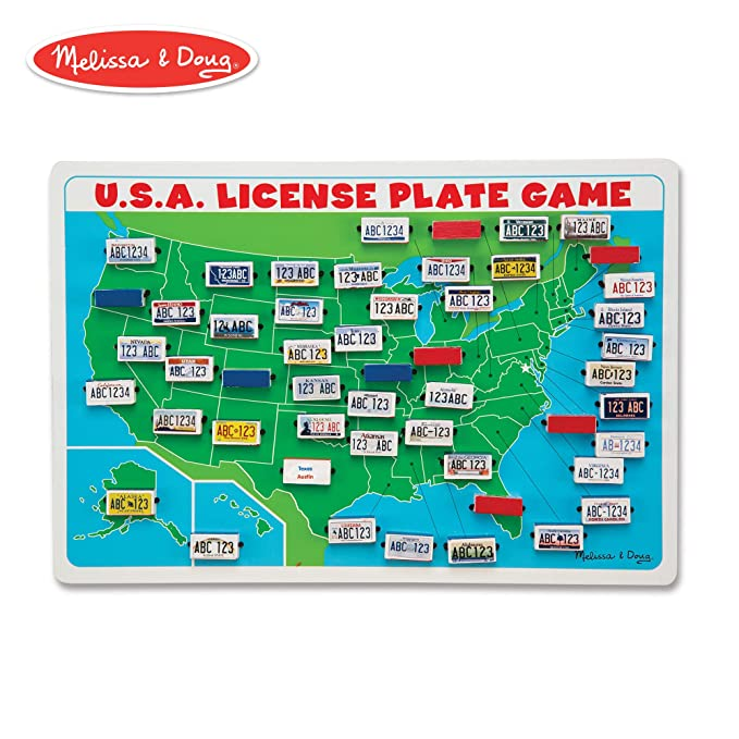 Amazon.com: Melissa & Doug U.S.A. License Plate Game (Wooden \