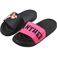 Irsoe Fashion Slippers |Flip Flops| Slider Slippers | Pink Panther Design for Women and Girls Slippers (Pink/Black)