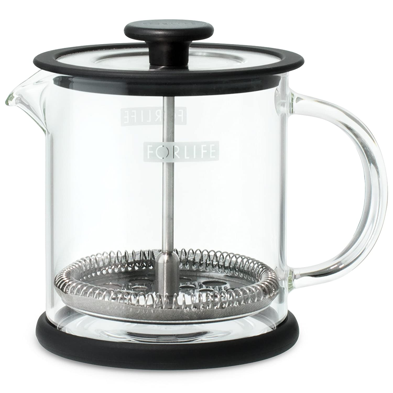 FORLIFE Cafe Style Glass Coffee Tea Press, 16-Ounce, Black