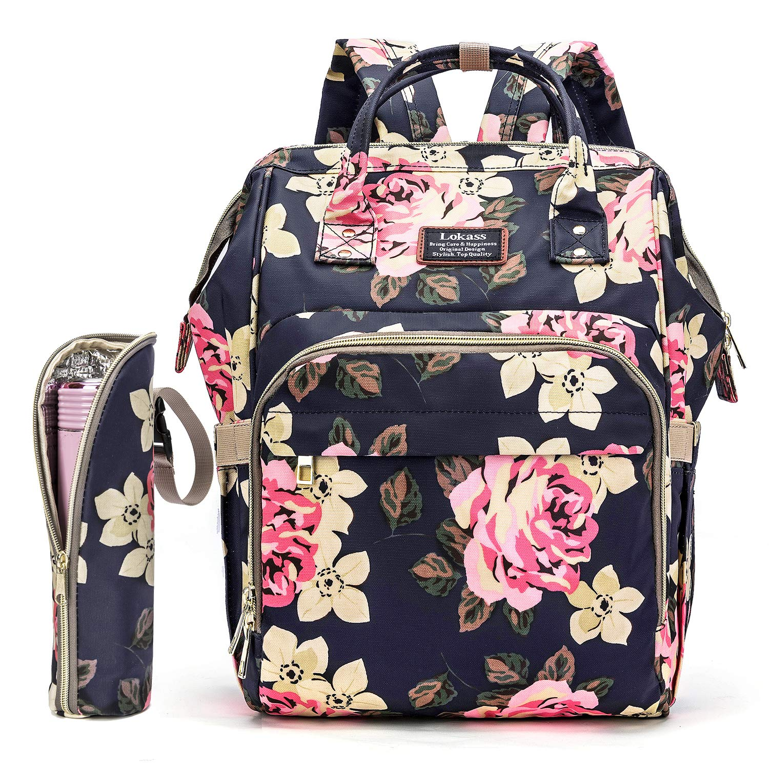 Diaper Bag Backpack Floral Baby Bag Water-resistant Baby Nappy Bag With Insulated Water Bottle Bag/Changing Pad For Women/Girls/Mum (Flower Pattern) by Srotek