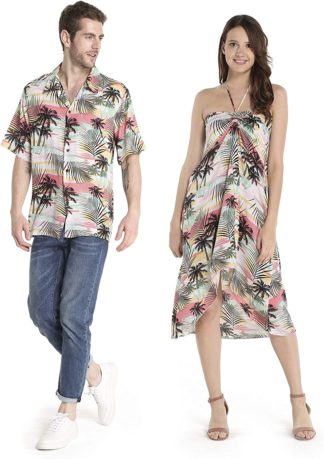 Couple Matching Hawaiian Luau Party Outfit Set Shirt Dress In Sunset Red At Amazon Men S Clothing Store