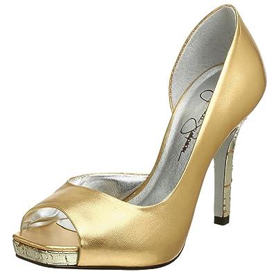 1082274ebf930 Amazon.com | Jessica Simpson Women's Josette Metallic Peep Toe Pump ...