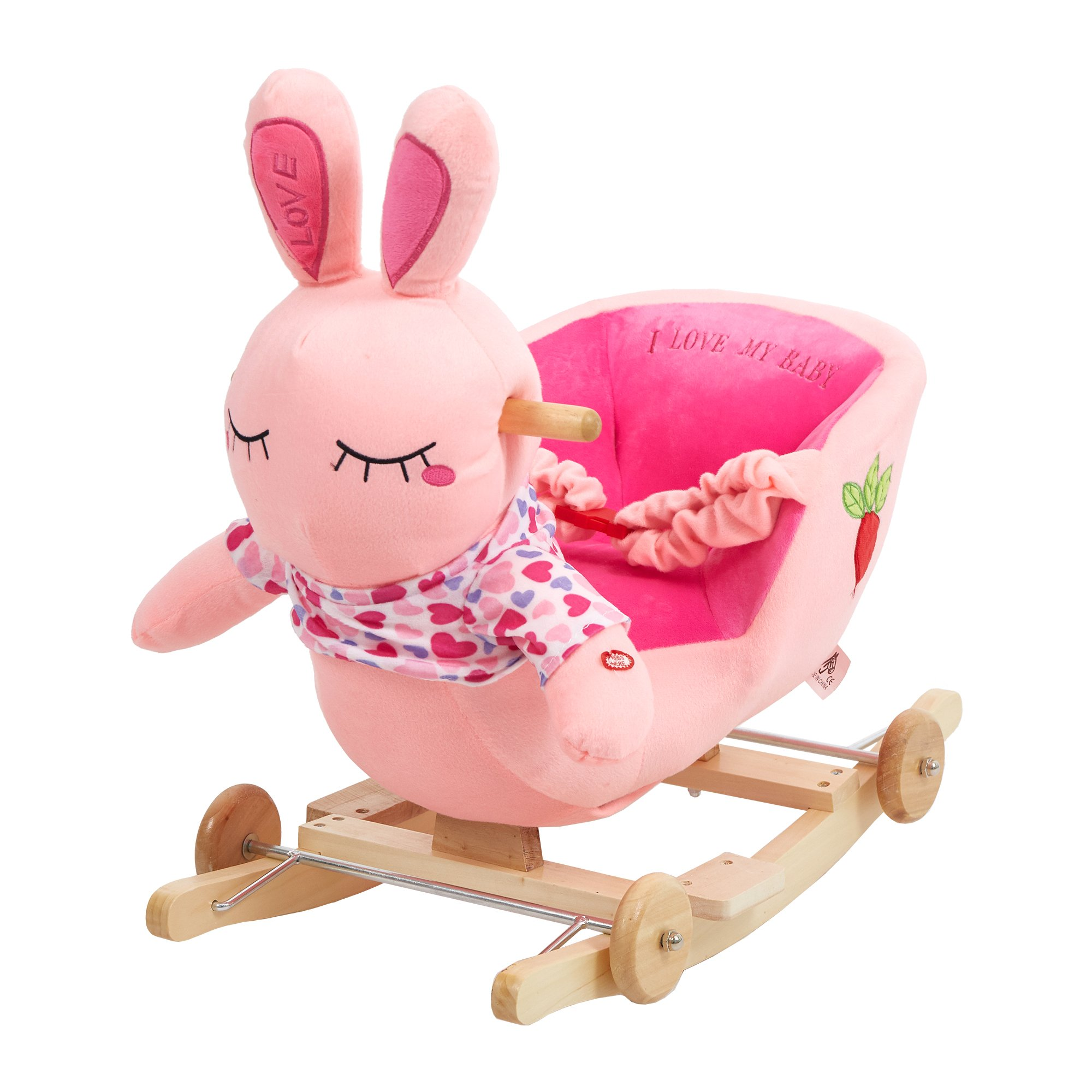 Dporticus Child Rocking Horse Plush Rabbit Rocker Toy with Wheels and Seat Belt Wooden Rocking Horse/Kid Rocking Toy/Baby Rocking Horse/Rocker/Animal Ride On