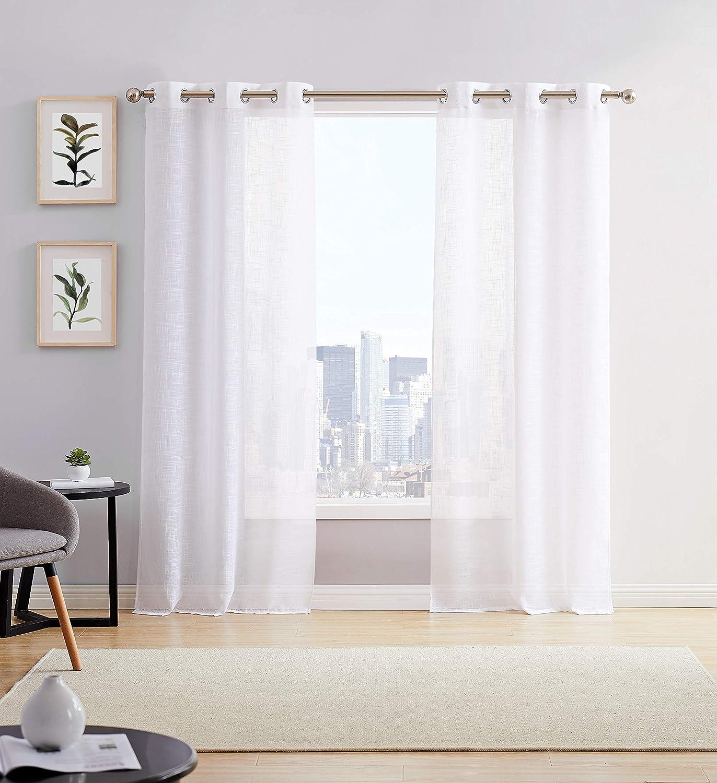Dainty Home Hannah Linen Look Grommet Panel Pair, 76x84'', White