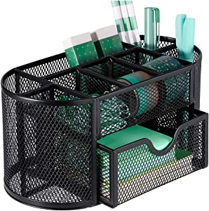 MaxGear Mesh Desk Organizer Office Desktop Organizer with Drawer, Metal Stationary Organizer Black Desk Caddy, 9 Compartments, 8.75 x 4.5 x 4 inch, 1 Pack