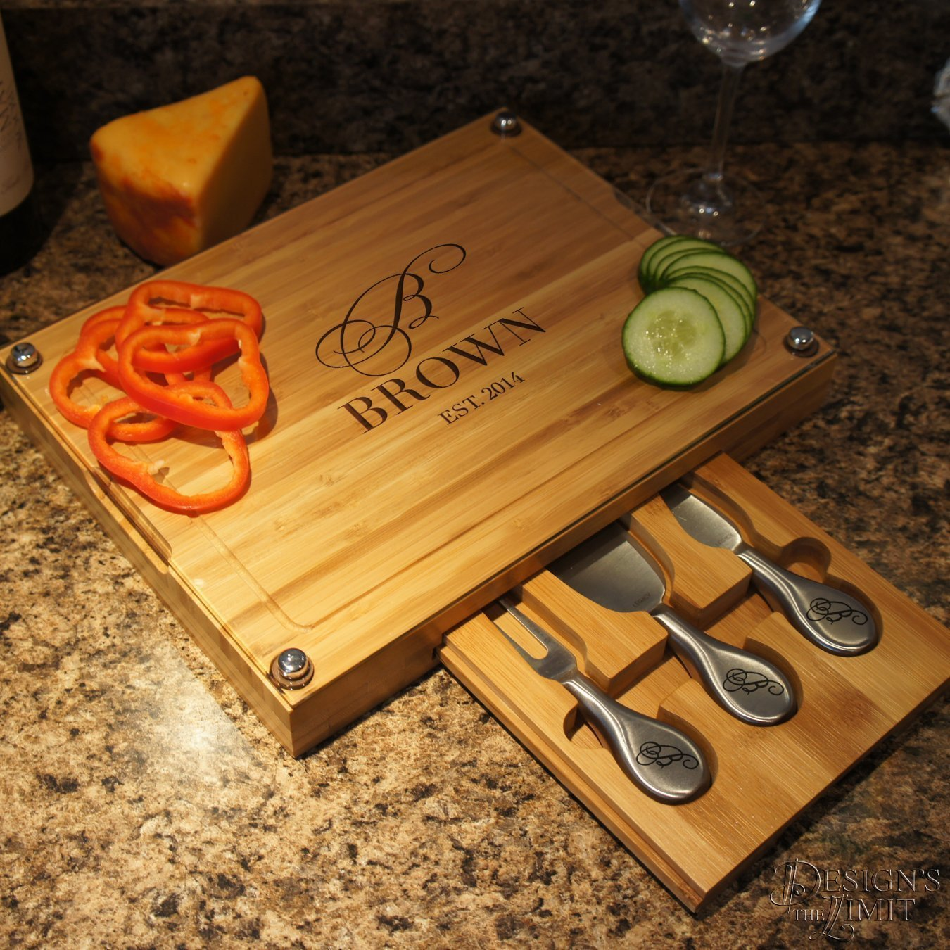 Personalized Cheese Board with Glass and Bamboo Cutting Board with Cheese Tools