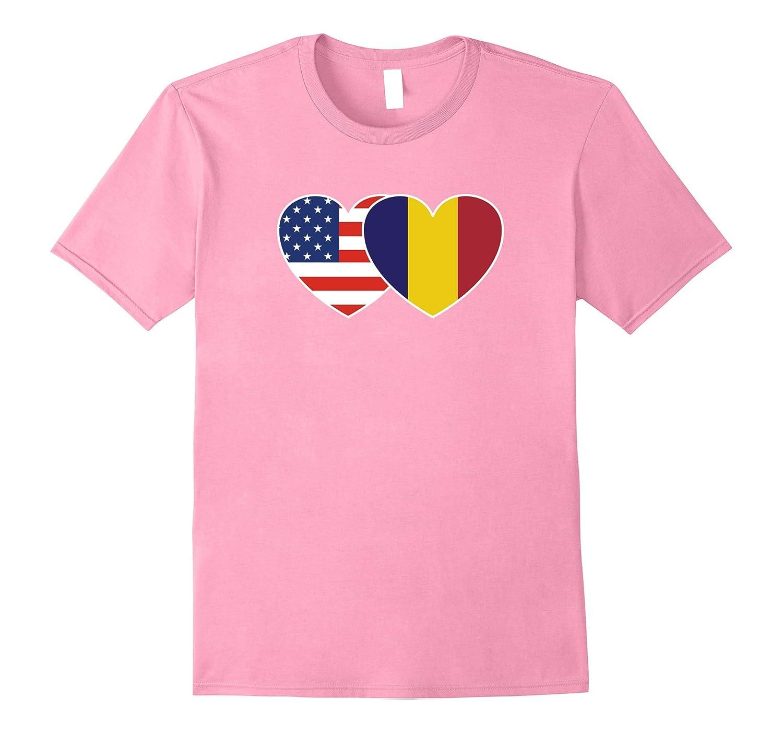Romania USA Flag Twin Heart T Shirt for Romanian Americans-TH