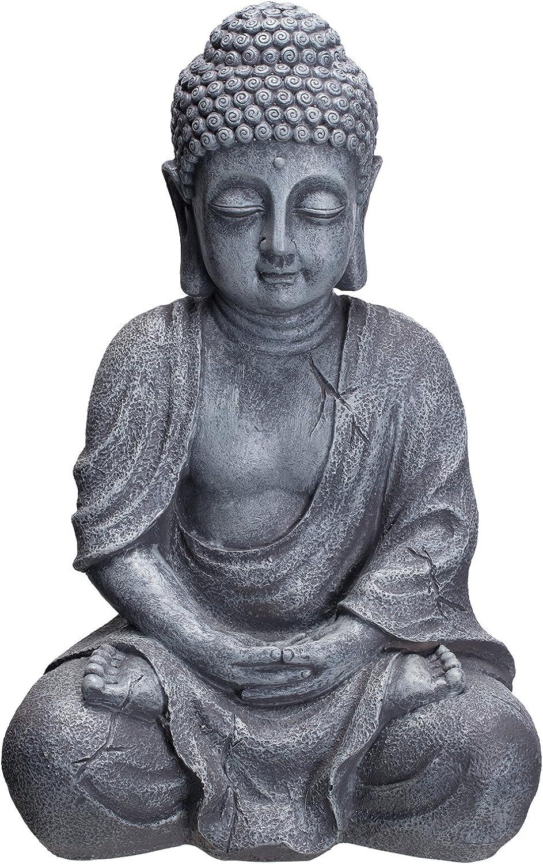 Buda b4018s piedra gris, para interior y exterior, Figura de Buda 37 cm Alto, Buda Estatua grande, de busto, Jardín Decoración, impermeable (No a las heladas) de piedra artificial (polirresina) muy elegante
