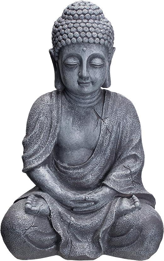 Buda b4018s piedra gris, para interior y exterior, Figura de Buda 37 cm Alto, Buda Estatua