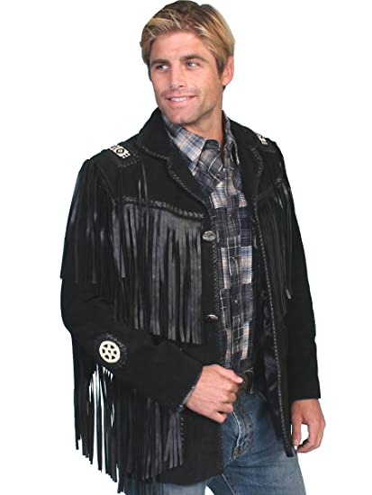 4fcb3ba94 Scully Men's Fringed Suede Leather Coat Tall