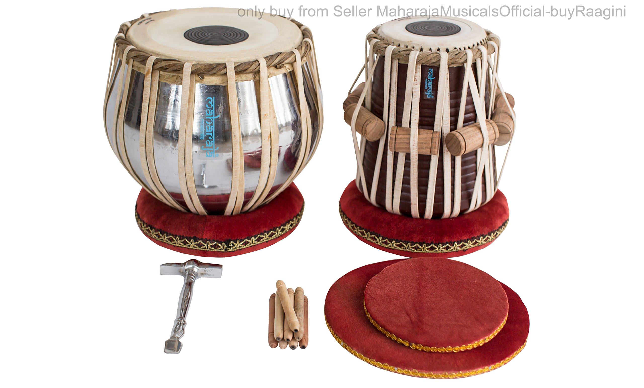 MAHARAJA Student Tabla Drum Set, Basic Tabla Set, Steel Bayan, Dayan with Book, Hammer, Cushions & Cover - Perfect Tablas for Students and Beginners on Budget (PDI-IB) Tabla Drums, Indian Hand Drums by Maharaja Musicals