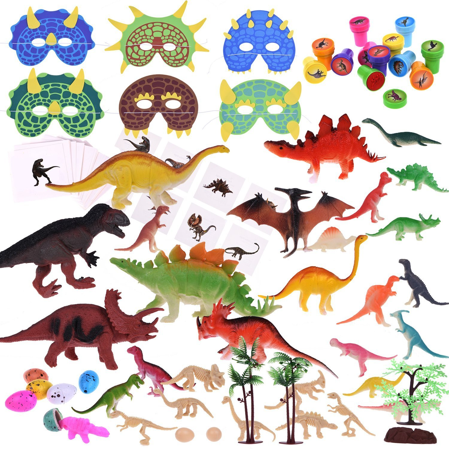 88Pcs Kids Dinosaur Toy Kit Including Assorted Mini Figures, Stamps, Masks, Dinosaur Eggs, Sticker Tattoos and More Great for Dinosaur Party Supplies, Kids Prizes