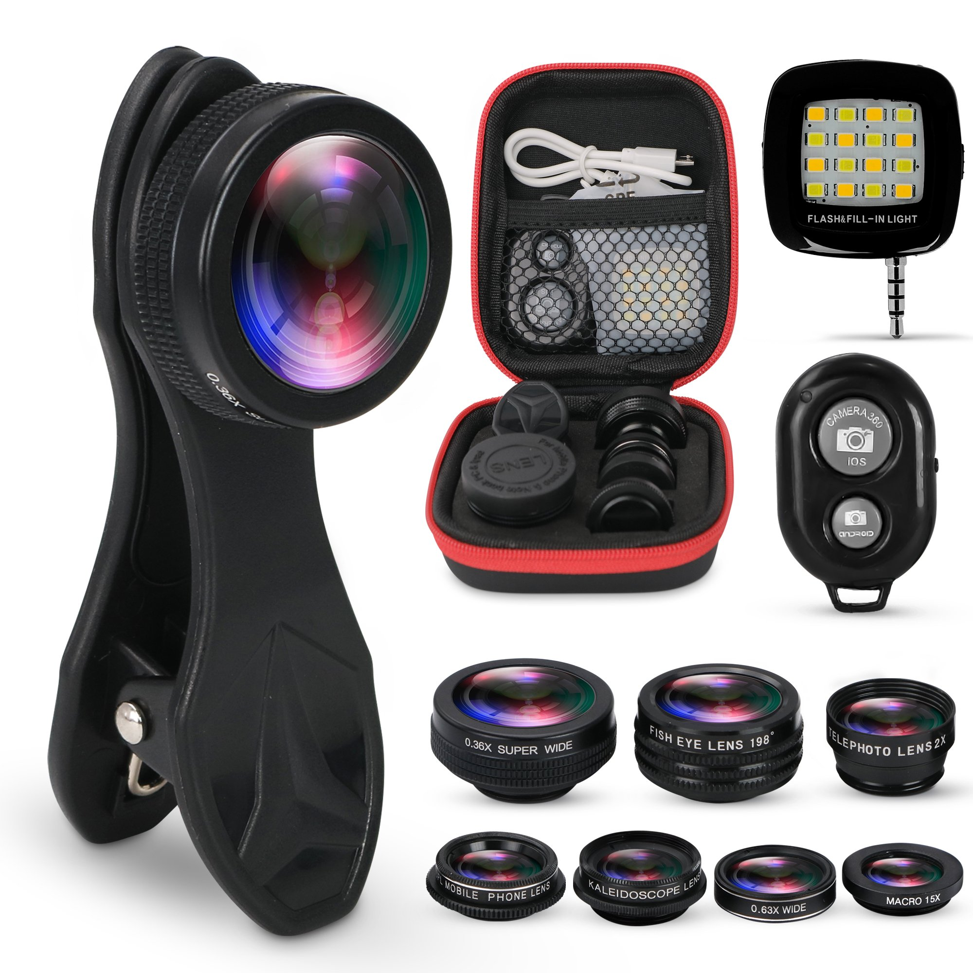 KobraTech 9 in 1 Cell Phone Camera Lens Kit - Phone Lens iPhone & Android - Super Wide Angle, Macro, Kaleidoscope, Telephoto, CPL, Fisheye Lens + Remote LED Light by KobraTech