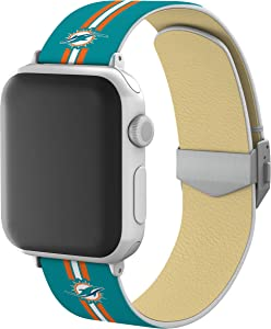Miami Dolphins Full Print Watch Band with Engraved Buckle Compatible with Apple Watch - 42/44mm Stripes