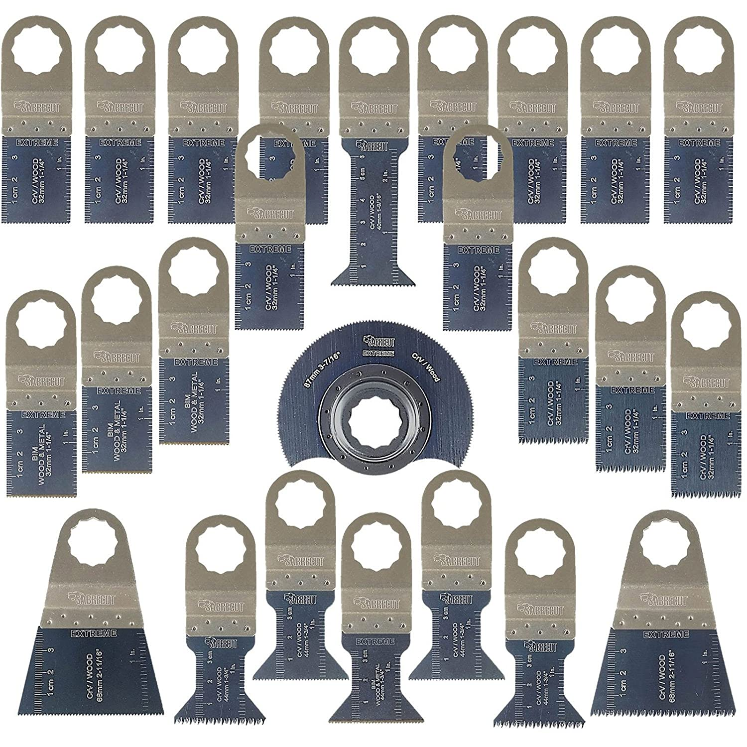 25 x SabreCut SCK25A Premium OMT Mix Blades for Fein SuperCut and Festool Vecturo Oscillating Multitool Multi Tool Accessories