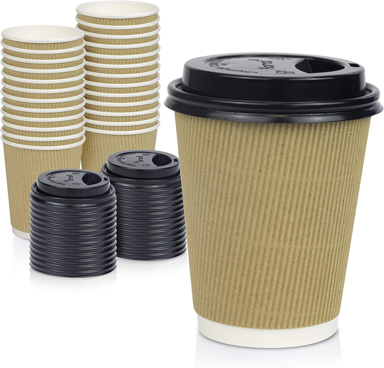 [50 Pack] Disposable Hot Cups with Lids - 12 oz Brown Double Wall Insulated Ripple Sleeves Coffee Cups with Black Dome Lid - Kraft Paper Cup for To Go Chocolate, Tea, and Cocoa Drinks