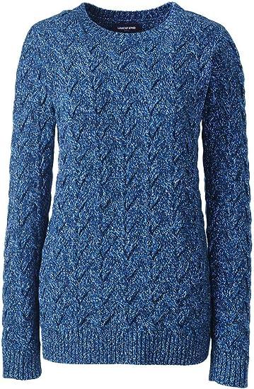 Lands End Womens Cotton Cable Drifter Crewneck Sweater