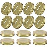 EOPER 20 Packs Coin Slot Piggy Bank Lids Reusable Metal Mason Jar Canning Lids, Stainless Steel Lid Inserts for Mason, Ball,