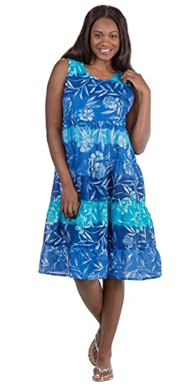 aa16aa75a86f La Cera Cotton Tiered Sleeveless Mid-Length Dress in Blue Nuance at ...