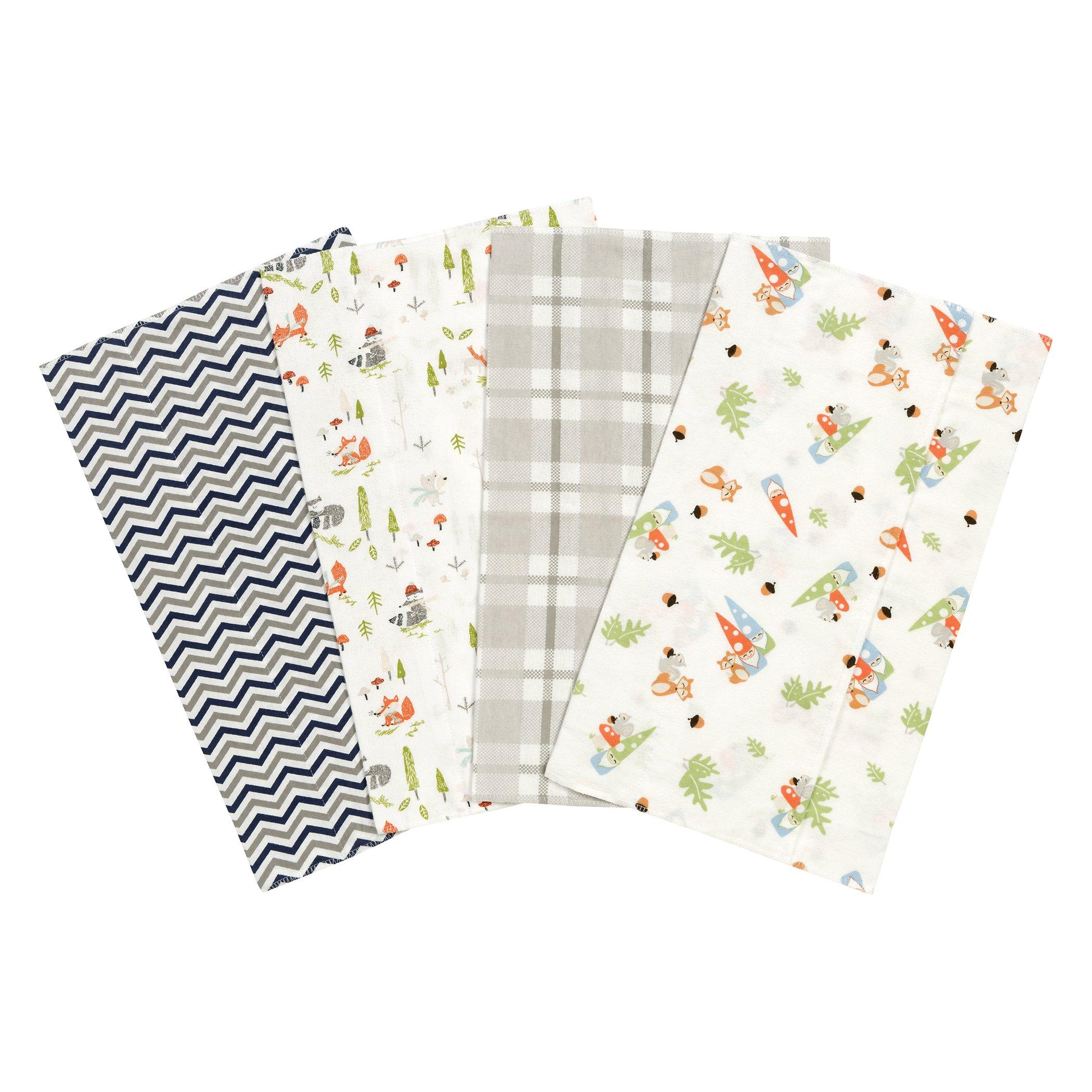 Trend Lab Woodsy Gnomes Flannel Burp Cloth Set, 4 Piece