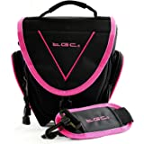 TGC ® Easy Access SLR Camera Case for Sony Cyber-shot DSC-H300, DSC-H400, DSC-HX400, DSC-HX400V Plus Accessories (Black with Hot Pink Trim/Lining)