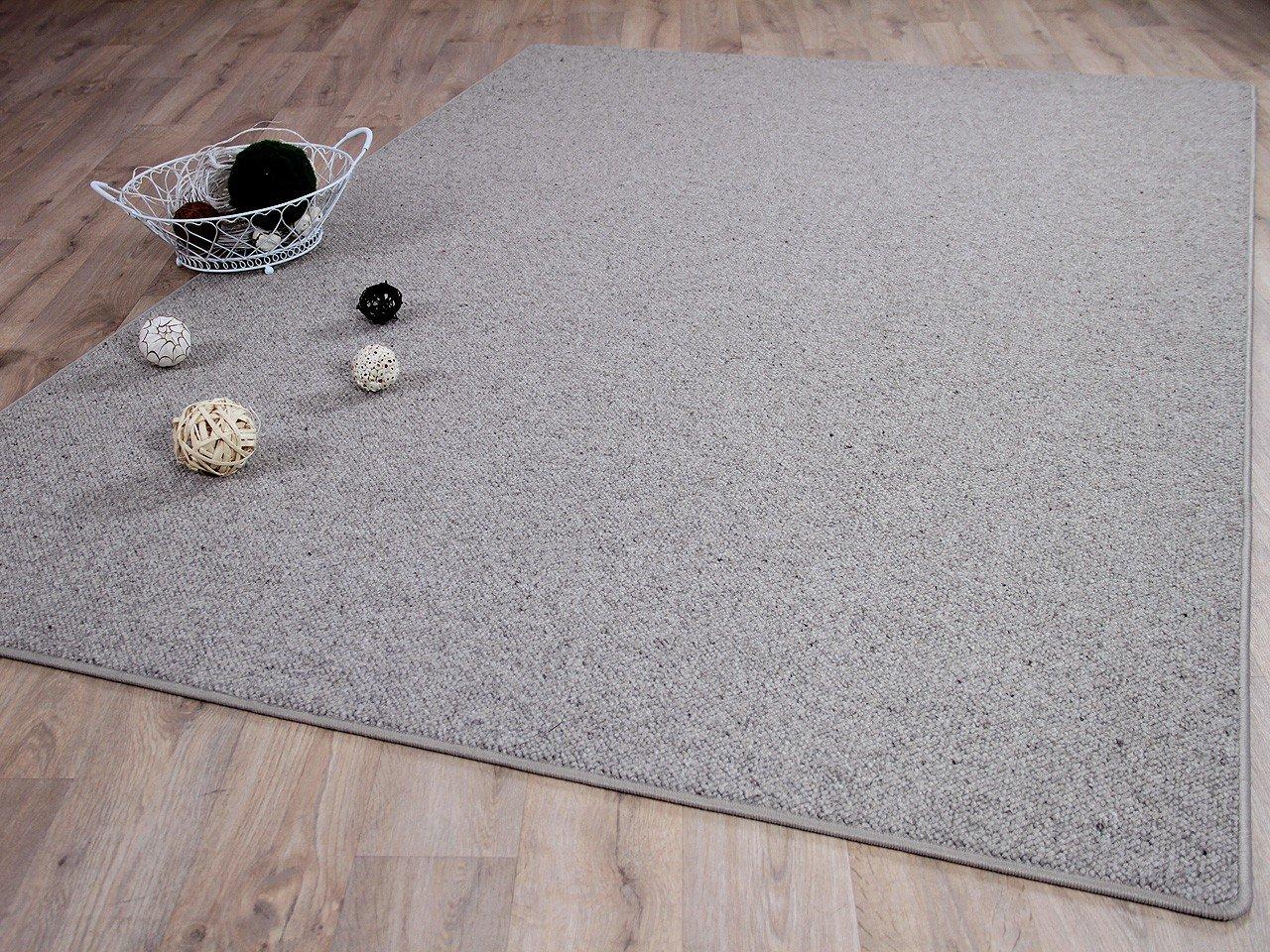 Natur Teppich Wolle Berber Grau Meliert in 24 Größen