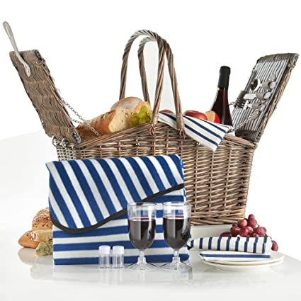 2 Person : VonShef Deluxe 2 Person Folding Handle Picnic Basket Hamper with Cutlery, Plates, Glasses, Tableware & Fleece Blanket