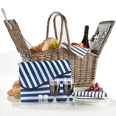 VonShef Deluxe 2 Person Folding Handle Picnic Basket Hamper with Cutlery, Plates, Glasses, Tableware & Fleece Blanket