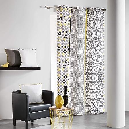 Cortina con Ojales Coton dIntérieur Remix, algodón, Gris/Amarillo, 140 x 240 cm: Amazon.es: Hogar