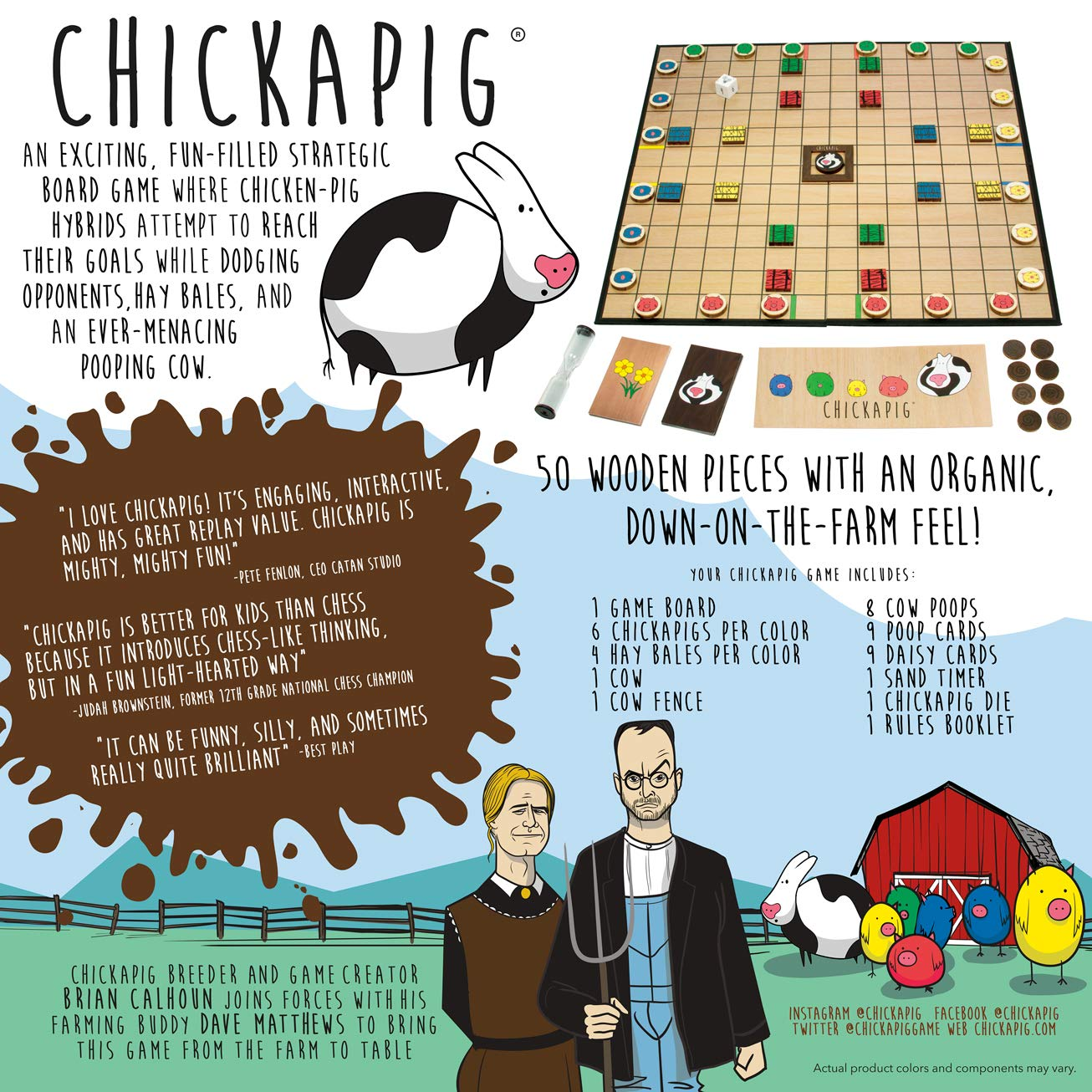 Buffalo Games Chickapig Board Game - A Strategic Board Game Where  Chicken-Pig Hybrids Attempt to Reach Their Goal While Dodging Opponents,  Hay Bales,