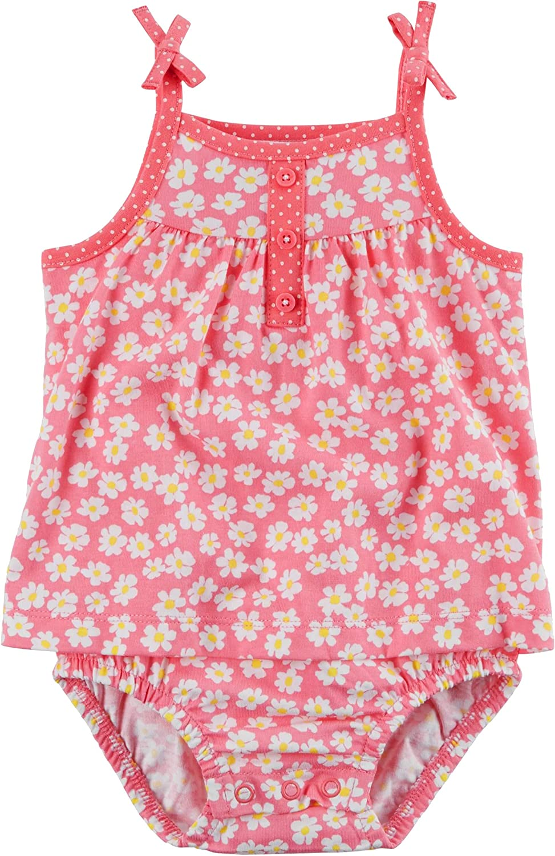 Carters Baby Girls Ruffle Tie-Shoulder Sunsuit