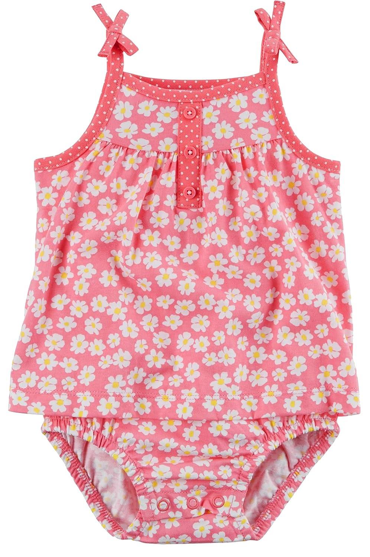 Carter's Girl's Daisy Floral Tie Shoulder Sunsuit; Pink & White (9M)