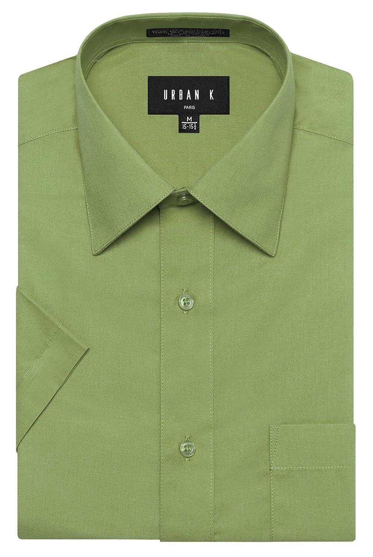 URBAN K メンズMクラシック フィット ソリッドフォーマル襟 半袖ドレスシャツ レギュラー & 大きいサイズ B06WRVD74R 6L Ubk_apple Green Ubk_apple Green 6L