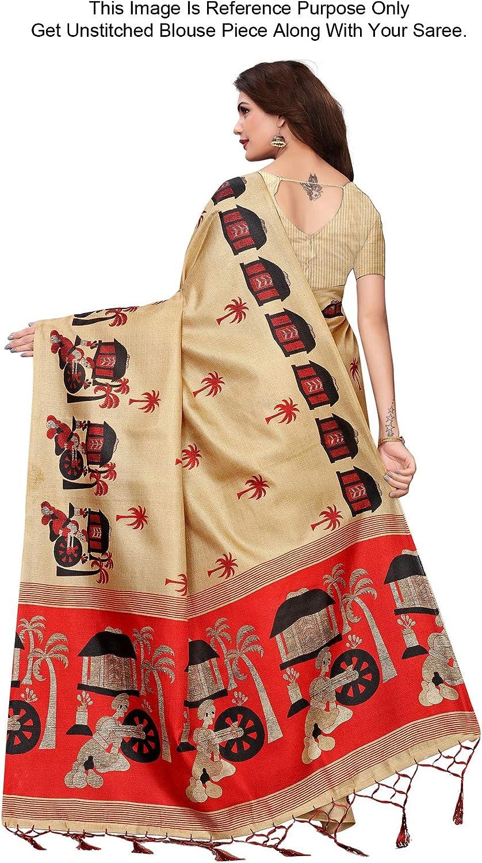Peegli Saree Femmes Sari Traditionnel en Soie Khadi Sari Ethnique Kalamkari Imprim/é Sari