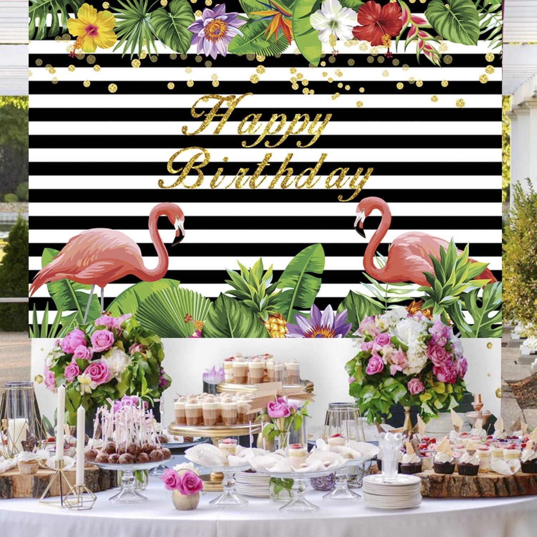 Flamingo Party Hintergrund Sommer Tropische Hawaiianische Blumen Geburtstagsfeier Banner Fotografie Hintergründe 7x5ft Flamingo Baby Shower Party Dekoration Photo Booth Hintergrund 1 Küche Haushalt