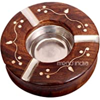 iTrend India Wooden Decorative Round Ashtray with 3 Spots for Resting While Smoking