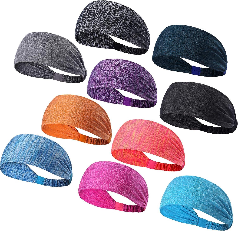 DASUTA Set of 10 Women's Yoga Sport Athletic Headband for Running Sports Travel Fitness Elastic Wicking Workout Non Slip Lightweight Multi Headbands Headscarf fits All Men and Women : Clothing
