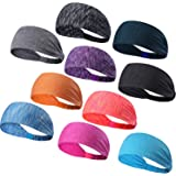 DASUTA Set of 10 Women's Yoga Sport Athletic Headband for Running Sports Travel Fitness Elastic Wicking Workout Non Slip Lightweight Multi Headbands Headscarf fits All Men & Women
