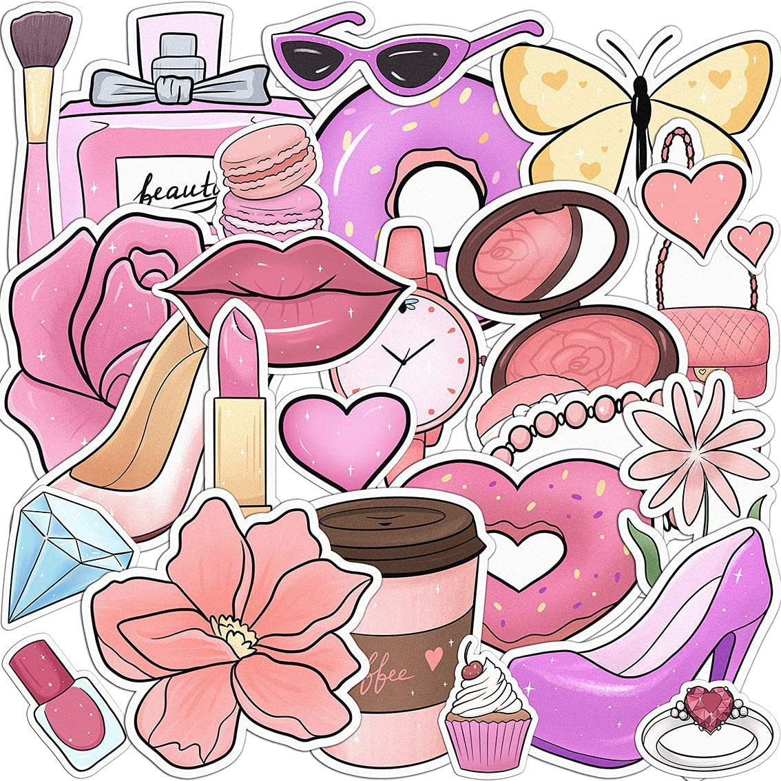 Lex Altern 26 PCS Sticker Pack for Laptop for Planner Pink Fashion Waterproof Glam Decals Set for Water Bottles Vinyl Makeup for Notebook Coffee Lips Girly for Phone for Mirror for Her