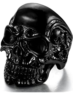 FIBO STEEL Stainless Steel Rings for Men Women Black Skull Head Rings,Size 8-