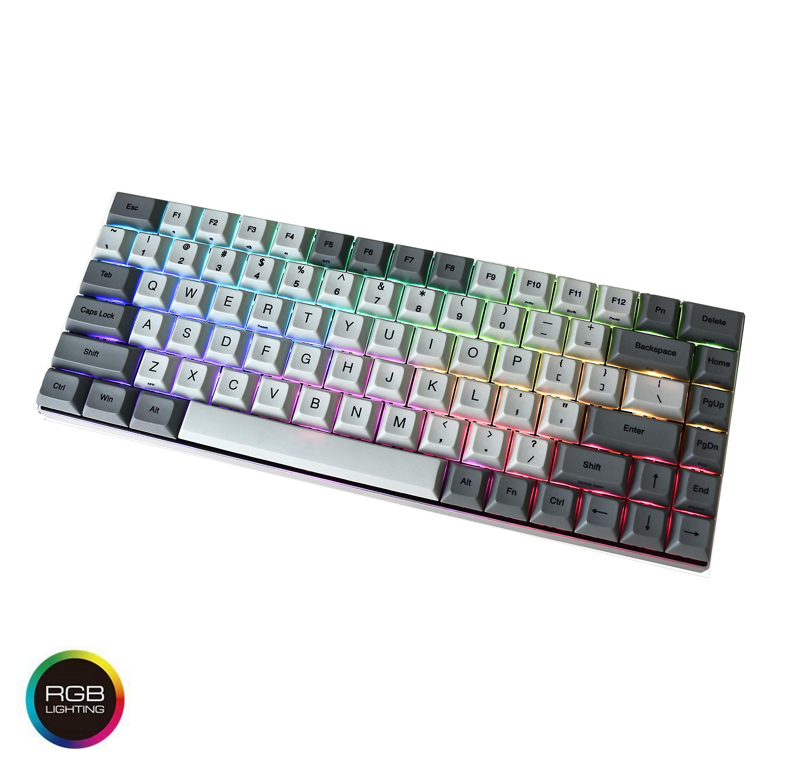 Vortexgear Race 3 RGB Backlit - PBT DSA Dye Sub Keycaps - 75% Size TKL Programmable Mechanical Gaming Keyboard - (Grey CNC Aluminium Casing) RGBY Modifiers - USB 2.0 (Cherry Mx RGB Brown)