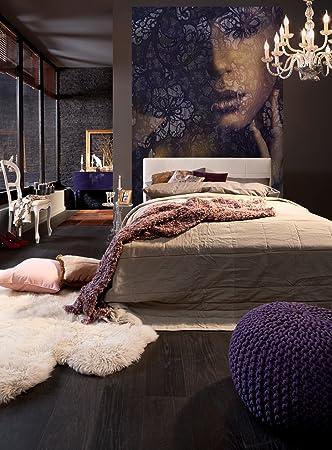 Komar - Vlies Fototapete LACE - 184 x 248 cm - Tapete, Wand, Dekoration,  Wandbelag, Wandbild, Wanddeko, Frauengesicht, Schlafzimmer, Romantik - ...