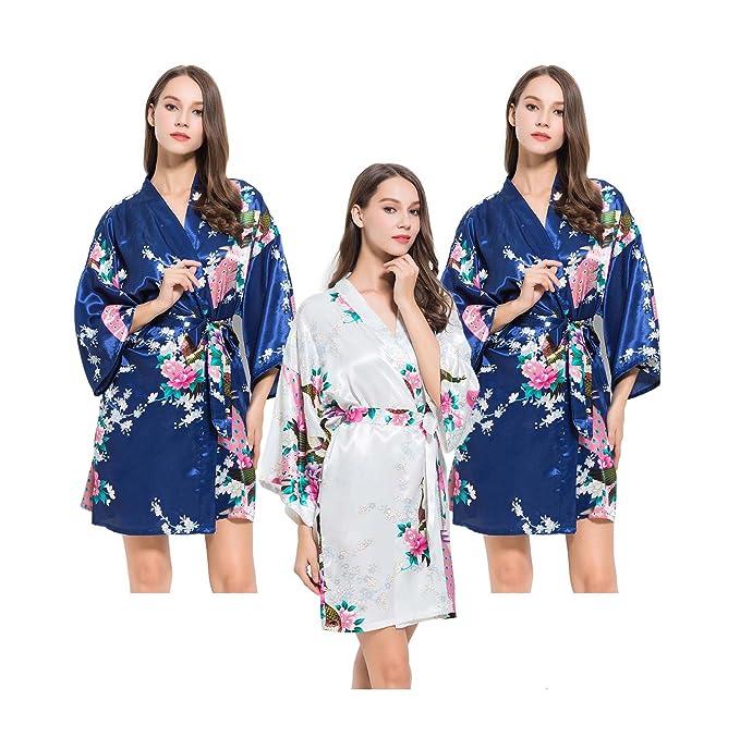 Fete Fabulous Juego de 3 satinado pavo real Kimono Túnica, despedida de soltera Getting Ready
