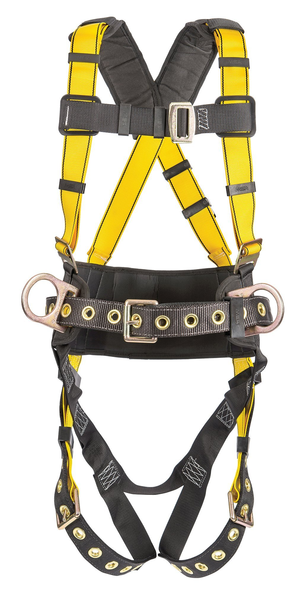 MSA 10077572 Workman Construction Harness with Back/Hip D-Rings, Tongue Buckle Leg Straps, Qwik-Fit Chest Strap Buckle, Integral Back Pad, Tool Belt and Shoulder Pads, X-Large
